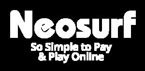 Neosurf white logo with strapline
